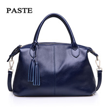 PASTE Genuine Leather Bags Hand bags Women Famous Brands Tassel Large Shoulder Bags Leather Messenger Bags Blue Bolsa Feminina
