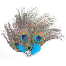 SAF-Peacock Feather Hair Clip Long Tail Design