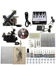 Professional Tattoo Kit 2 Guns Machines 10 Ink Sets Power Supply