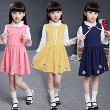 2017 Spring Fall Little Girls Fashion Spliced Long-Sleeve Princess Dress Children Clothes Kid Bow Pleated Dresses One Piece G973