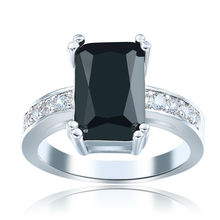Womens Mens White Gold Plated Princess Cut Black Jade Stone CZ Crystal Lady Girls Female Wedding Fashion Jewelry Engagement Ring