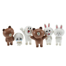 6pcs/set Line App Emoji Brown Bear Cony Rabbit Figures Toys Kawaii Emoticons Dolls