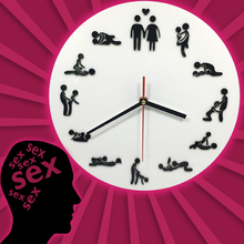 Free Shipping 1Piece Kama Sutra Sex Position Clock 24Hours Sex Clock Novelty Wall Clock Make Love Clock Wedding Gift