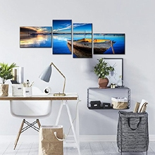 4 Piece Scene of Sea Boat Nature Beauty Wall Art Canvas Paintings for Living Room Bedroom Office Decor dropship is welcomed(China)