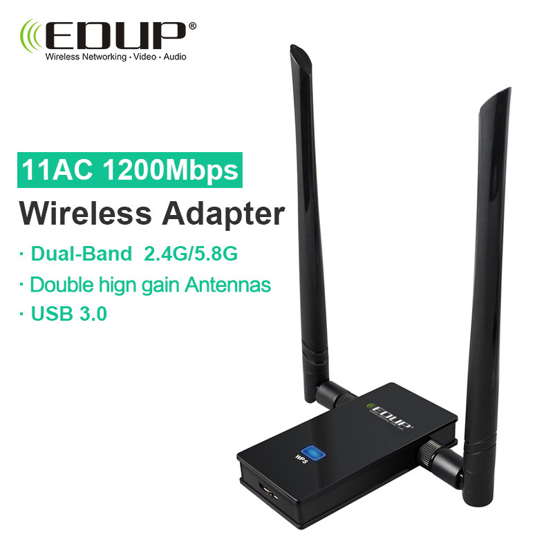 EDUP usb wifi adapter 1200mbps 5ghz high gain wifi antenna 802.11ac long distance wifi receiver usb 3.0 wi-fi ethernet adapter(China)
