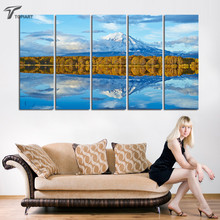 Large Canvas Wall Art Snow mountain And Blue Sky Lake Canvas Painting Set of 5 Pieces Home Decoration Paintings Unframed New