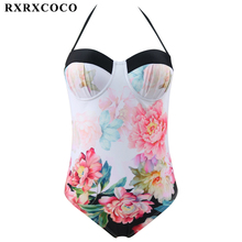 Buy RXRXCOCO Flower Printed Swimwear Women Sexy One Pieces Swimsuit 2017 Halter Bandage Monokini Female Summer Beachwear Swim Wear