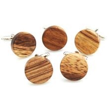 Mdiger New Round Wood Cufflinks Cuff Links Jewelry Casual Cuff Buttons For Mens Business Suits Good Gifts 3 PCS/LOT