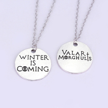 Game of Thrones Hand Stamped Winter is Coming Valar Morghulis Couple Necklaces for Lovers Best Friends Necklace Gifts