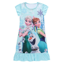 frozen dresses for girls round neck short sleeves breathable sleeves girls summer wear lovely design pattern kids clothing party