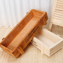 Vintage Wood Garden Flower Planter Succulent Pot Rectangle Trough Box Plant Bed(China)