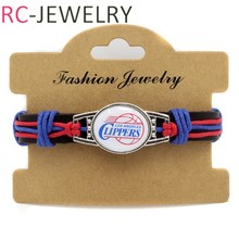NBA-13 Top Quality NBA los angeles clippers basketball Team genuine leather Bracelet  basketball fans gifts