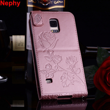 Nephy Luxury Case For Samsung Galaxy S3 S4 S5 Mini S 3 4 5 Neo Duos Cover 3D Rose Flower Soft Leather Housing Holder With Strap(China)