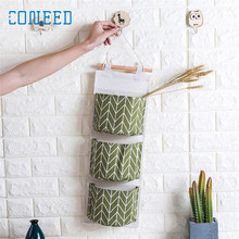 coneed hanging storage bag Wall Mounted 3 Bags Storage Bag Kitchen Supplies Fluid Systems Multilayer Bags u70512 DROP SHIP(China)