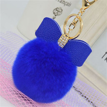 7cm Fur Pom Pom Bow Keychain Keyring Women PomPom Plush Key Ring Rhinestone Faux Rex Rabbit Fur Ball Key Chain Party Shop Gifts