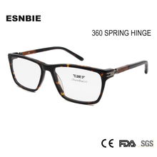 ESNBIE Wood Glass Frame Women's Eyeglasses Frame 360 Spring Hinge Men Optical Glasses Frames Square Spectacles Vintage Eyewear