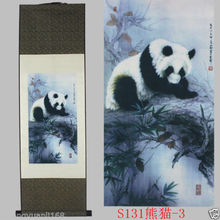 "40""Chinese SuZhou Silk Art Panda Decoration Scroll Painting Drawing S131-3"