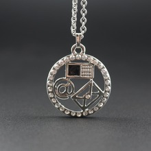 Modern Communication Email Cellphone Letter Pattern Pendant Necklace Black Crystal Pave Chain Length 60 cm(China)