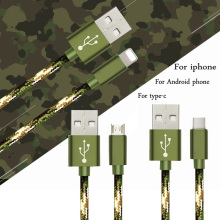 2016 new camouflage nylon braided phone charging cable line for iphone5 6 type-c Android phone