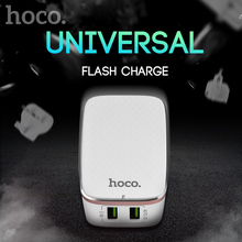 HOCO Double USB US UK EU plugs Travel Smart Charger for iPhone iPad iPod Samsung LG Wall Home Travel AC fast 2.4A dual port