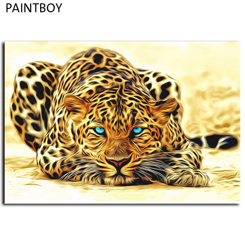 Frameless Leopard Animals Pictures Painting By Numbers DIY Canvas Oil Painting Home Decoration For Living Room 40*50cm GX4175(China (Mainland))