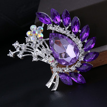 2 colors available big crystal flower brooches for women pink/purple color for choose silver plated wedding accessories gift