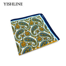 SF0216 New Popular 34x34CM Man Paisley Solid Floral Pocket Square Hankies Chest Towel For Men's Suit Big Size Handkerchief Gift(China)