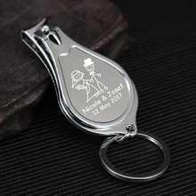 50x Personalized Wedding Favor Fingernail Nail Clipper and Bottle Opener Keychain Keyring Personalized Wedding Gift for Guests(China)
