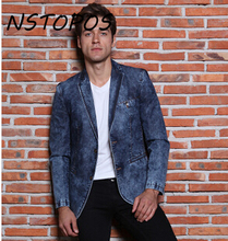 2015 New Arrival Mens Jeans Blazer Masculino Casual Mens Denim Blazer Masculino Brand Designs Men Blazer Homme Plus Size M-3XL(China)