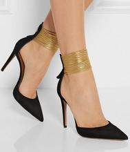 New Designer Black Beige Suede Pointed Toe Gold Strap Women Pumps Strappy Metallic Leather Ankle Cuff Stiletto Heel shoes w