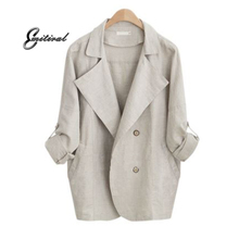 Buy Autumn 2018 New Fashion European Style Women Thin Windbreaker Plus Size Casual Loose Female Trench Coats Cotton Linen Outerwear for $22.22 in AliExpress store