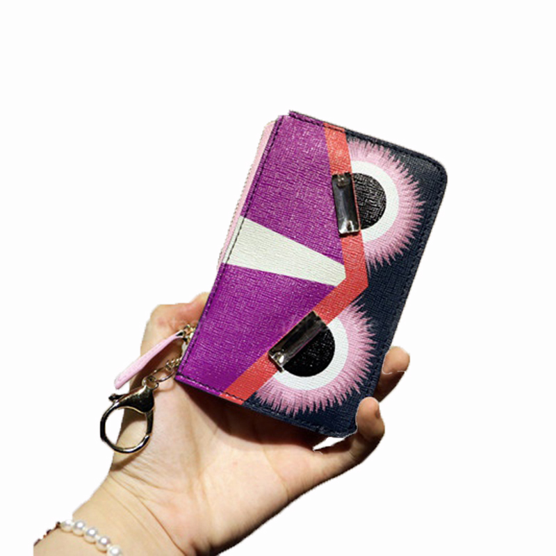 New Cow leather coin purse bag zipper card bags key cases Designer wallets purse men women little monster Genuine leather wallet<br><br>Aliexpress