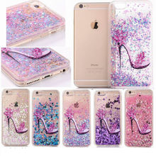 High Heels Bling Liquid Glitter Pattern Soft TPU Silicone Acrylic Phone Back Case Cover For iPhone 5 5S SE 6 6S Plus 7 Plus(China)