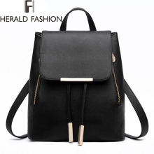 Women Backpack High Quality PU Leather Mochila Escolar School Bags For Teenagers Girls Top-handle Backpacks Herald Fashion(China)