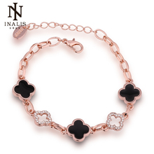 INALIS Safety Chain Rose Gold Color Bracelet Clover Bracelet for Women Girl Jewelry