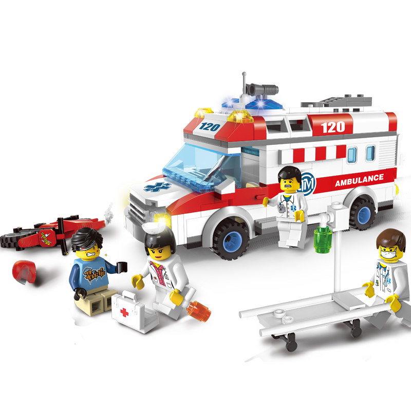 Models-building-toy-Enlighten-1118-Ambulance-Nurse-Doctor-First-Aid-328Pcs-Building-Blocks-compatible-with-lego (1)