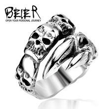 New Open Skull Hand Ring Stainless Steel Man's Fashion Jewelry Biker Punk Jewelry BR8-146 US Size