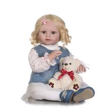 NPK 70cm big handmade  lifelike silicone reborn toddler baby fashion doll curly blond hair wig bebe real reborn bonecas