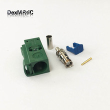 1pc  Fakra E female jack connector Green color for Car TV1 Crimp for RG316 RG174 cable