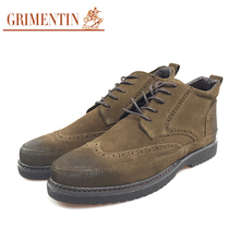 GRIMENTIN Men Leather Boots Western Ankle Wingtip Carved Handmade Quality Winter Man Shoes E3(China)
