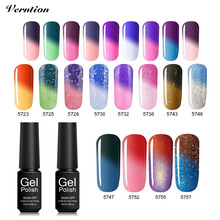 Verntion Gel Nail Polish Vernis Chameleon Temperature Changing Color Uv Glue Hybrid Varnish Soak Off UV LED Gel Nail Polish(China)