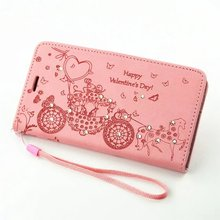 For Huawei P9 NEW HOT High Quality Cute Cartoon carriage crystal Bling love heart valentine flip lady phone case card slot cheap