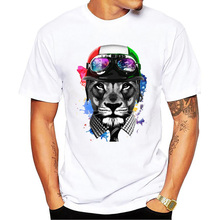 New Summer Funny Animal t-shirt Hip Hop Scooter Lion Face Vespa T shirt Men Plus Size Cloting Hipster Street tees Cool Tops