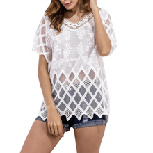 Women White Blouse Elegant Outer Wear Short Sleeve Hollow Out Lace Shirt Solid V Neck Office Party Shirt New Casual Blouse