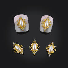 10pcs DIY Marquise Design Rhinestones Nail Art Decorations Glitter Gold Alloy Brim 3d Nail Jewelry Free Shipping(China)
