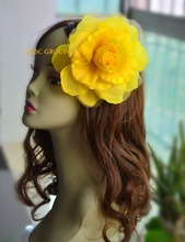 Yellow 15cm silk flower hair accessory for fascinator sinamay hat.with brooch pin hair clip.