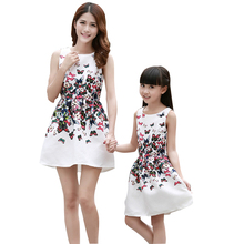 Mother Daughter Dresses Short Sleeves Family Matching Clothes For Mom Girls Princess Dress Printed Flower Summer Dress(China)