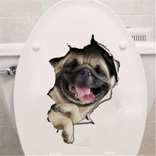 DIY Lovely Cat Dog Toilet Sticker Vivid View 3D Animal Pet Bathroom Decorative Wall Stickers Poster Home Decoration Accessories