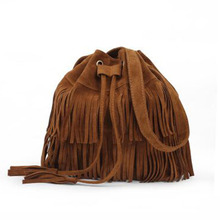 Tassel Shoulder Bags For Women 2017 New Party Solid Color String Handbags College Students Sweet Bucket Lady trendy Handbags