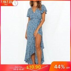 Платье-макси с цветочным принтом, V-образным вырезом, коротким рукавом и воланом